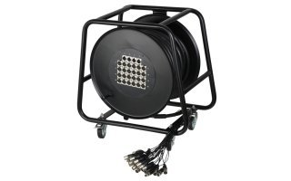 Adam Hall Cables K 28 C 30 D - Manguera de Cable en Enrollador con Cajetín de Escenario 24/4 30