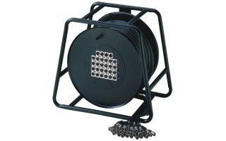 Adam Hall Cables K28C50D - Manguera de Cable en Enrollador con Cajetín de Escenario 24/4 50