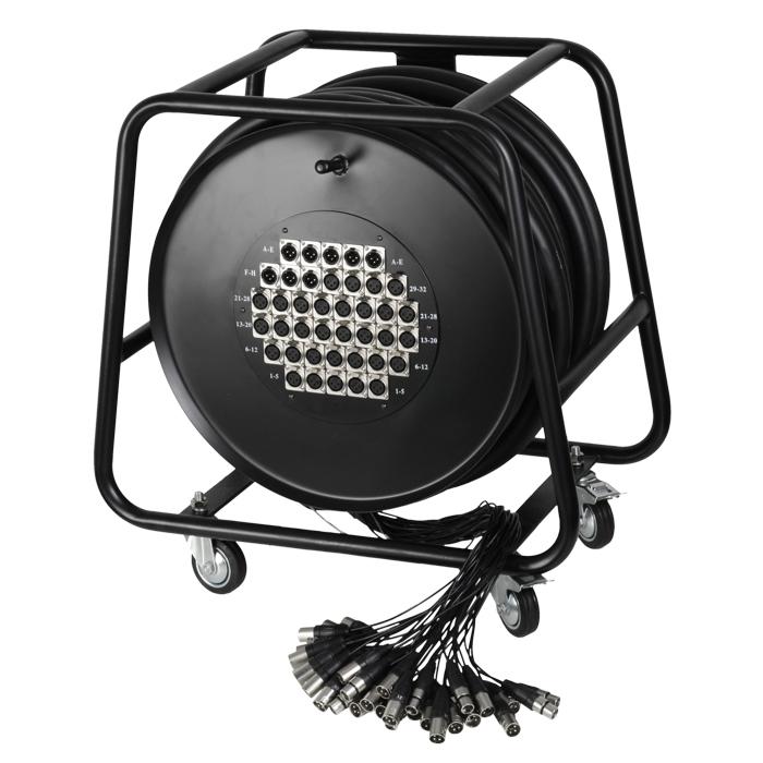 Adam Hall Cables K40C50D - Manguera de Cable en Enrollador con Cajetín de Escenario 32/8 50