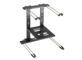Adam Hall Stands SLT 006 B - Soporte plegable para portátil con bandeja, de color negro