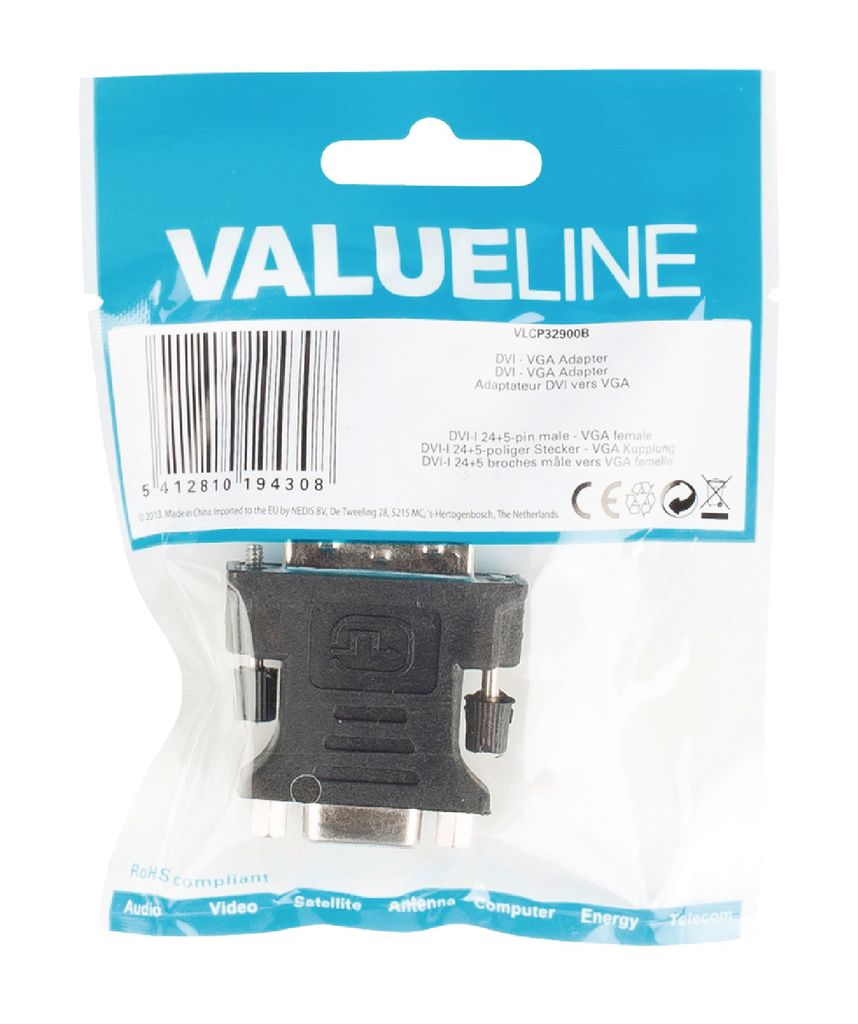 Adaptador DVI - VGA (DVI-I 24+5-pines macho - VGA hembra) - Negro