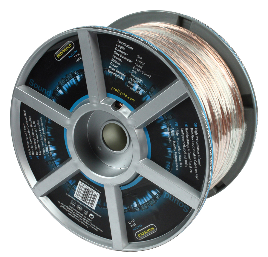 Cable para Altavoz BassFlex de 4,0 mm2 de Alto Rendimiento en Carrete 50.0 m