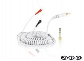 Cable repuesto blanco rizado para Sennheiser HD-25 3.5m