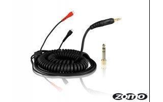 Cable repuesto negro rizado para Sennheiser HD-25 3.5m