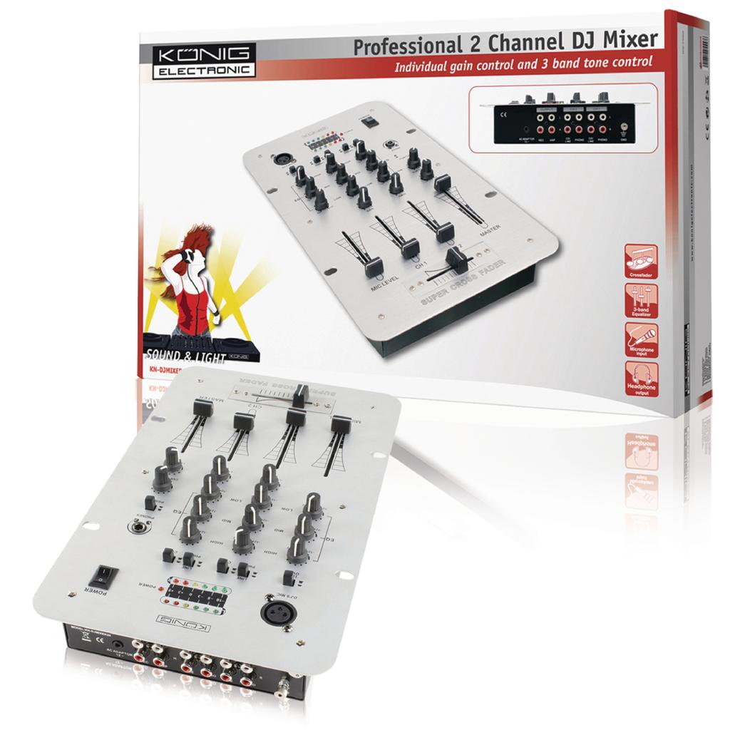 Mesa de mezclas de 2 canales - KN-DJMIXER20