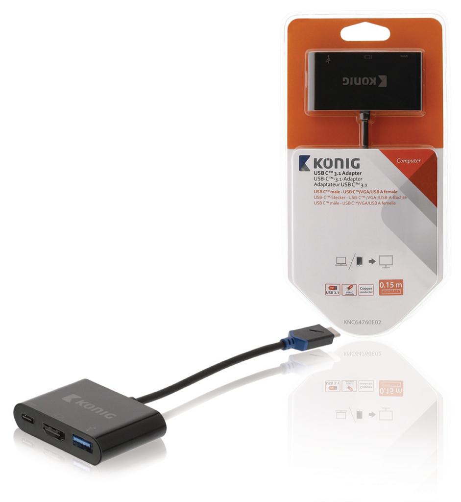 Adaptador de varios puertos de A/V digital USB 3.1 C macho - C/VGA/A hembra de 0,15 m