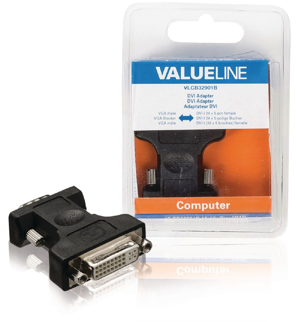 Adaptador DVI, VGA macho - DVI-I 24 + 5-pines hembra negro