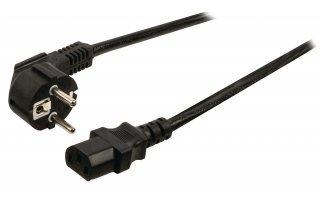 Cable de alimentación Schuko macho en ángulo - IEC-320-C13 de 10.00 m en color negro