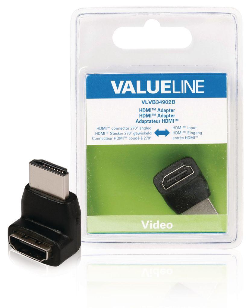 Adaptador HDMI con conector HDMI en ángulo de 270° - entrada HDMI en color negro