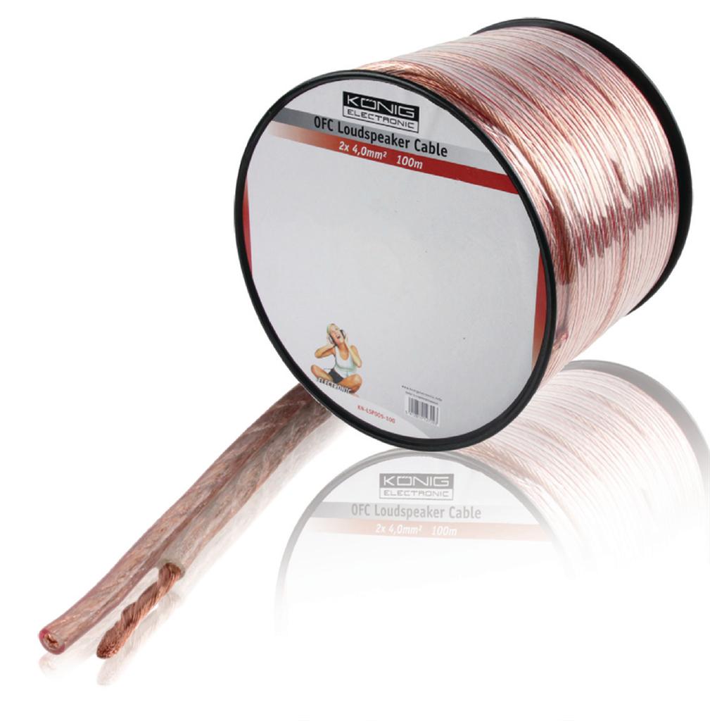 Bobina 100 m cable OFC para altavoz 2x 4.0 mm²