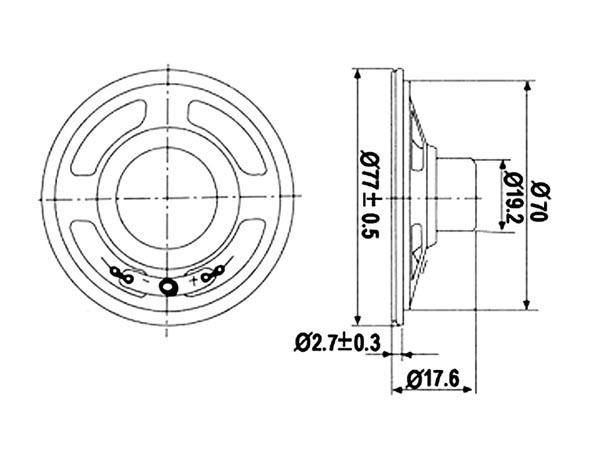 MINI ALTAVOZ - 1W / 8 OHM - Ø 77mm