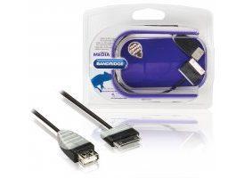 Cable USB 2.0 OTG para tableta Samsung, Samsung 30-pines macho - USB A hembra, 0,2 m blanco