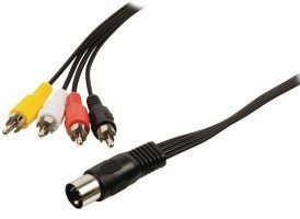 Cable adaptador de audio DIN macho de 5 pines - 4 RCA macho de 1.00 m en color negro