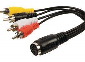 Cable adaptador de audio 4 RCA macho - DIN hembra de 5 pines de 0.20 m en color negro