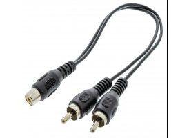 Cable divisor de audio 2 RCA macho - RCA hembra de 0.20 m en color negro