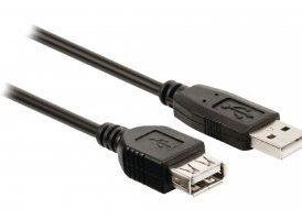 Cable USB 2.0 de A macho a A hembra de 2,00m en negro