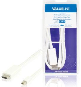 Cable adaptador mini DisplayPort, mini DisplayPort macho - conector HDMI, blanco 2,00 m