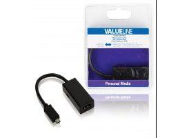 Cable adaptador MHL, MHL macho - entrada HDMI + micro USB B hembra para SIII, negro 0,20 m