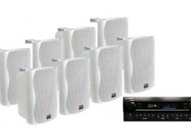 """Conjunto Comercio 520W - 8x Altavoces 6.5"""" Blanco + Mark MA 650"""