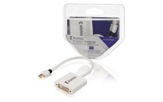 Cable adaptador Mini DisplayPort - DVI de mini DisplayPort macho a DVI hembra de 0,20 m en blanc