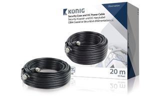 Cable coaxial de seguridad RG59 y cable de alimentación de CC de 20,0 m - König SAS-CABLE1020B
